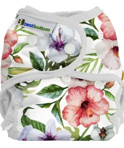 Best Bottom Diaper Cover, PUL-skal med blommor mot vitt
