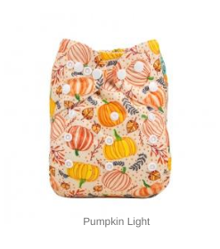 AlvaBaby Pumpkin Light pocketblöja med med pumpor mot ljus botten